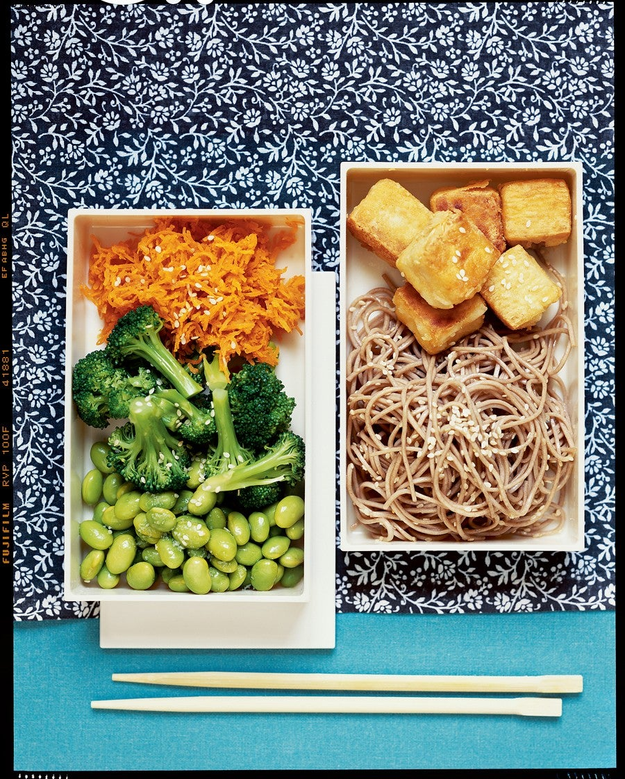 Stir-fried Tofu Bento Box with Sesame Soba Noodles and Ginger-Carrot Broccoli recipe